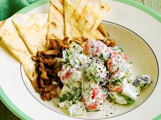 Lamb and flatbread Greek salad