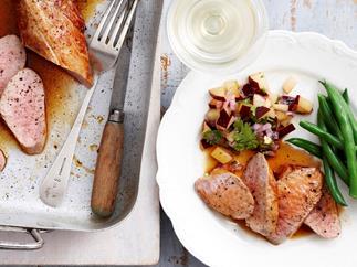 Maple pork with plum salad