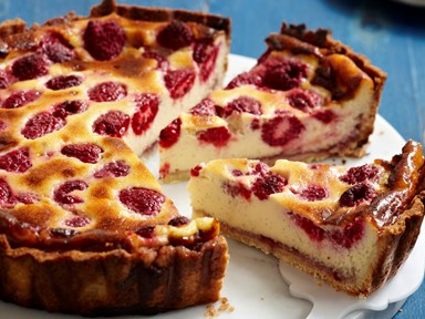 Raspberry and custard tart