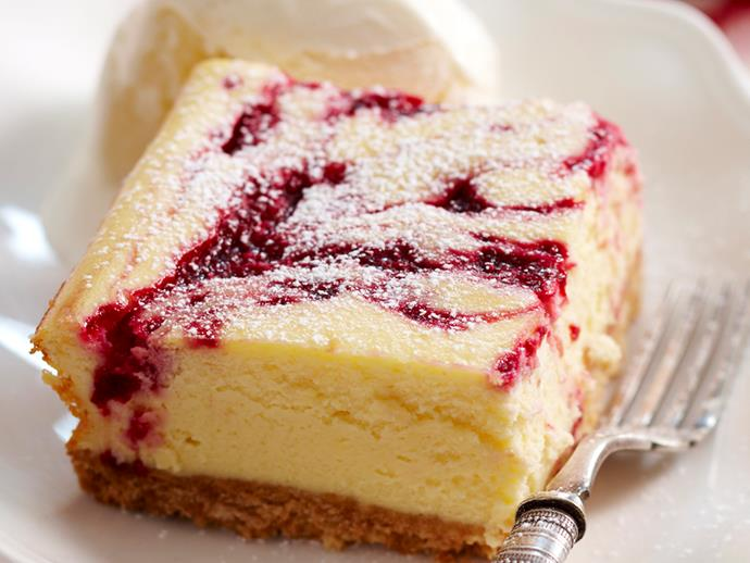 "**[Raspberry ripple cheesecake slice](https://www.womensweeklyfood.com.au/recipes/raspberry-ripple-cheesecake-slice-17160|target=""_blank"")**"
