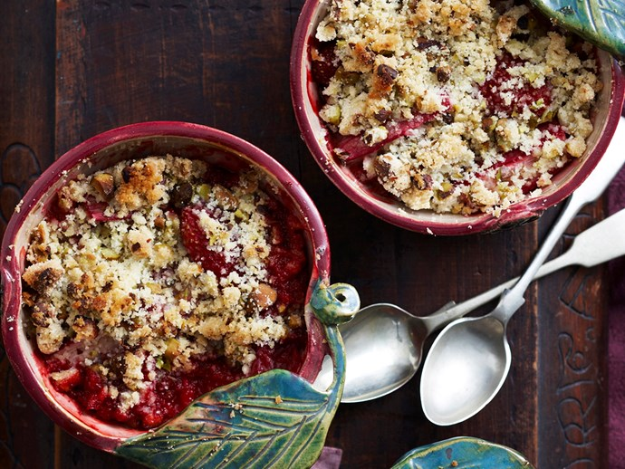 "[Rhubarb and strawberry crumble recipe.](http://www.foodtolove.com.au/recipes/rhubarb-and-strawberry-crumble-13736|target=""_blank"")"