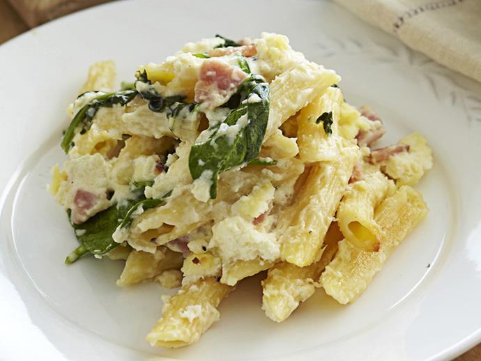 "**[Ricotta and bacon pasta bake](https://www.womensweeklyfood.com.au/recipes/ricotta-and-bacon-pasta-bake-17174|target=""_blank"")**"