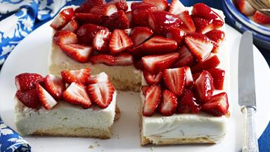 Ricotta, lime and strawberry cheesecake