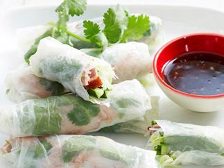 Roast duck rice paper rolls