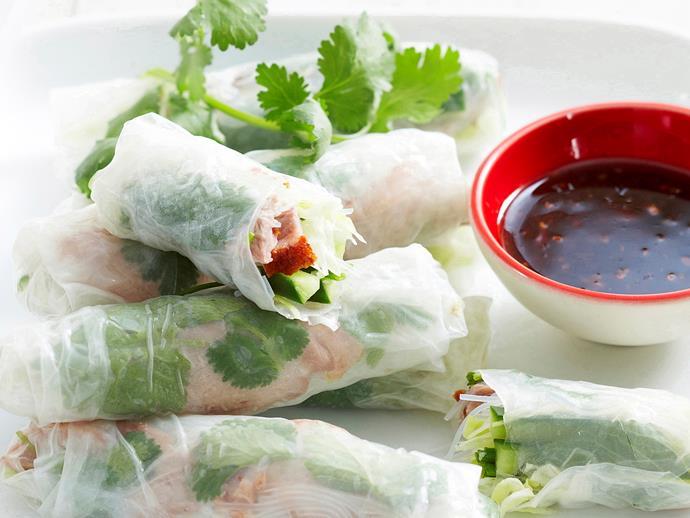 """**[Roast duck rice paper rolls](https://www.womensweeklyfood.com.au/recipes/roast-duck-rice-paper-rolls-17186 target=""""_blank"""")**"""