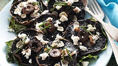 Roasted portobello mushrooms with garlic and feta
