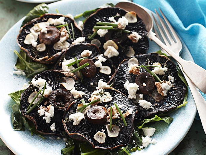 "[Roasted portobello mushrooms with garlic and feta](http://www.foodtolove.com.au/recipes/roasted-portobello-mushrooms-with-garlic-and-feta-13765|target=""_blank"")"