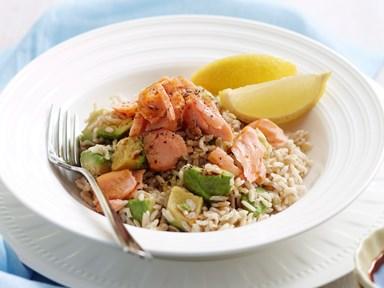 Salmon and brown rice salad