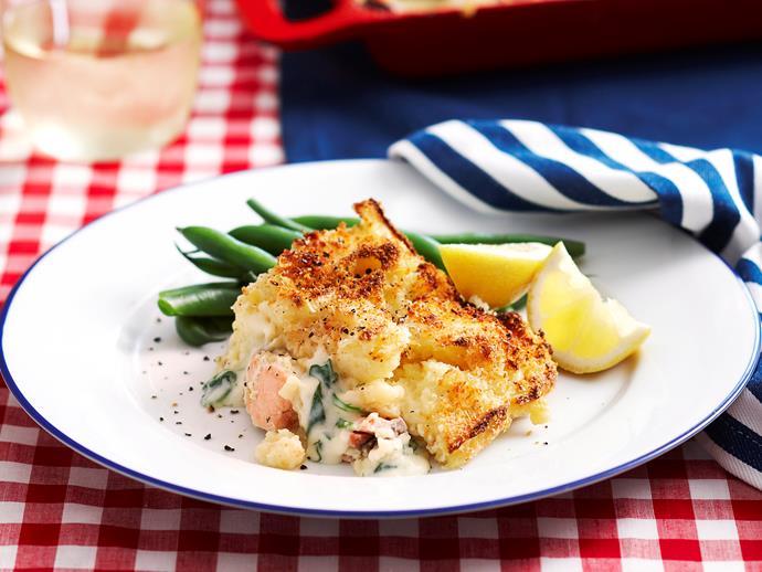 "**[Salmon, leek and potato pie](https://www.womensweeklyfood.com.au/recipes/salmon-leek-and-potato-pie-17230 target=""_blank"")**"