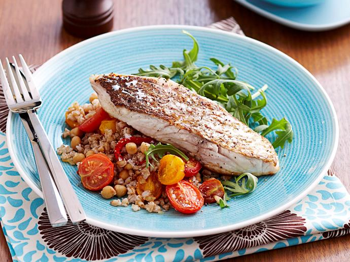 "[Snapper with barley and chickpeas](http://www.foodtolove.com.au/recipes/snapper-with-barley-and-chickpeas-13837|target=""_blank"")"