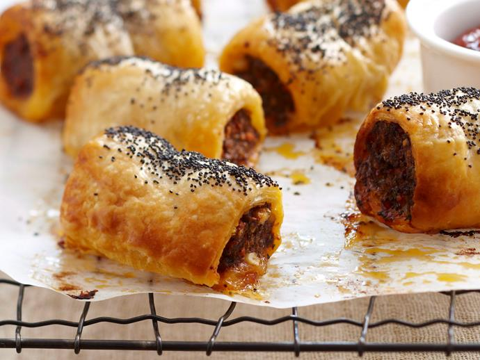 "**[Spiced lamb sausage rolls](https://www.womensweeklyfood.com.au/recipes/spiced-lamb-sausage-rolls-27363|target=""_blank"")**  Your guests will be reaching for more with this gourmet version of classic sausage rolls. Crunchy, golden pastry compliments the tender lamb filling just begging to be dipped in tomato sauce and gobbled up."