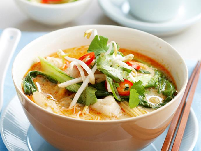 "This [deliciously spicy coconut fish soup](https://www.womensweeklyfood.com.au/recipes/spicy-coconut-fish-soup-28183|target=""_blank"") is packed full of creamy coconut milk, tender flaked fish and a punchy sauce to delight any dinner guests."