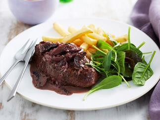 Steak with red wine and mushroom sauce