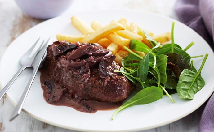 Steak with red wine and mushroom sauce