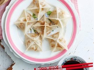 Steamed enoki and tofu dumplings