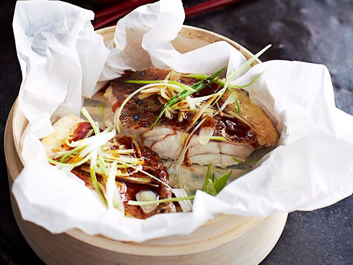 "**[Steamed ginger and soy coral trout](https://www.womensweeklyfood.com.au/recipes/steamed-ginger-and-soy-coral-trout-15785|target=""_blank"")**"