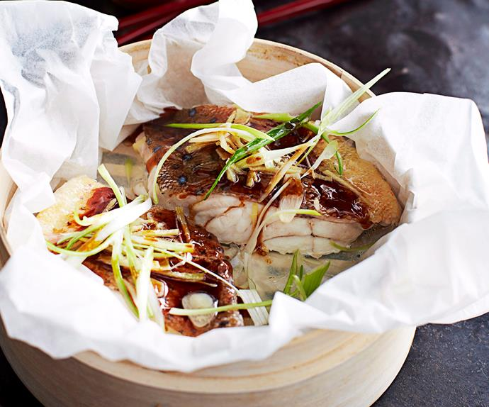 Steamed ginger and soy coral trout