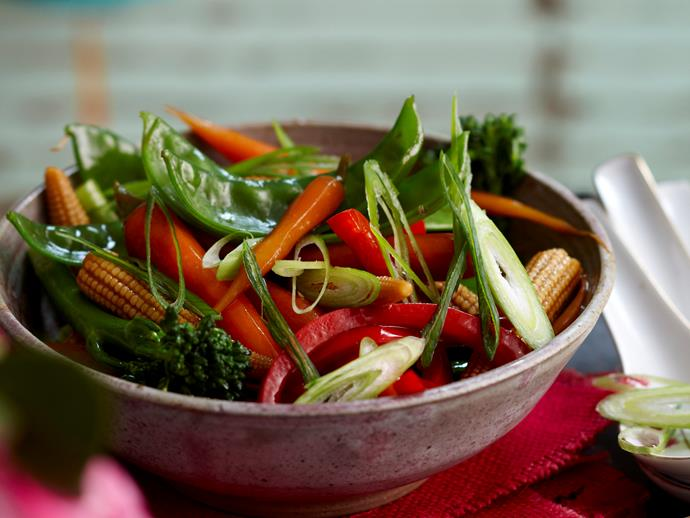 """**[Stir-fried vegetables in oyster sauce](https://www.womensweeklyfood.com.au/recipes/stir-fried-vegetables-in-oyster-sauce-28208 target=""""_blank"""")**  Quick and tasty, these Asian spiced vegetables are brilliant lightly tossed in the wok with a fragrant oyster sauce. Serve your stir-fried vegetables on the side of a meat dish, or with some steamed rice as a light vegetarian meal."""