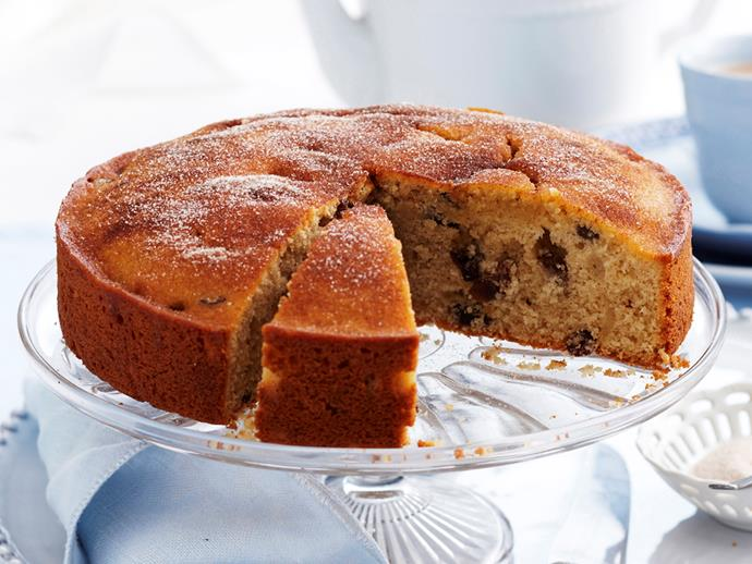 "**[Sultana cinnamon tea cake](https://www.womensweeklyfood.com.au/recipes/sultana-cinnamon-tea-cake-16753|target=""_blank"")**"
