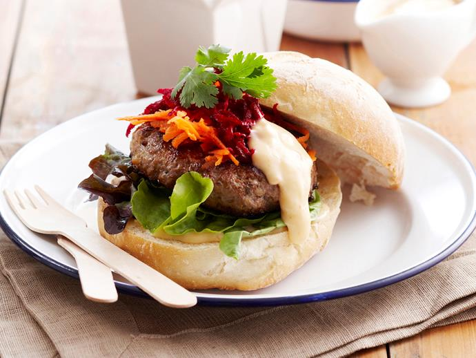 "**[Sweet chilli lamb burger](https://www.womensweeklyfood.com.au/recipes/sweet-chilli-lamb-burger-15790|target=""_blank"")** This succulent lamb burger with a sweet chilli mayo can be ready in 15 minutes"