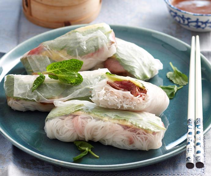 Teriyaki beef rice paper rolls