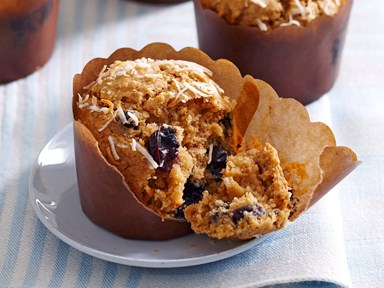 Blueberry, bran and coconut muffins