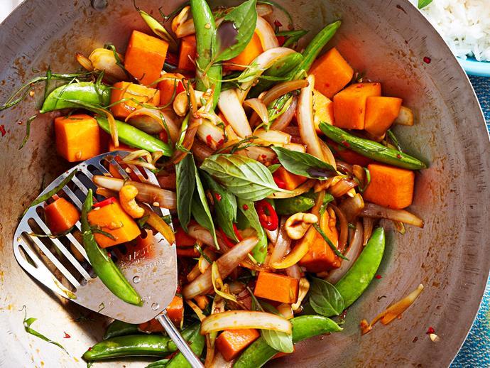 """**[Chilli basil stir-fried pumpkin](https://www.womensweeklyfood.com.au/recipes/chilli-basil-stir-fried-pumpkin-16807 target=""""_blank"""")**"""