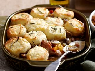 Creamy chicken and leek casserole with dumplings