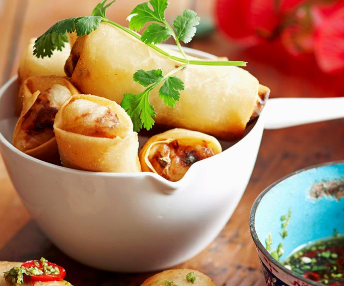 Fish and vermicelli spring rolls