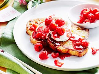 French toast with raspberry caramel
