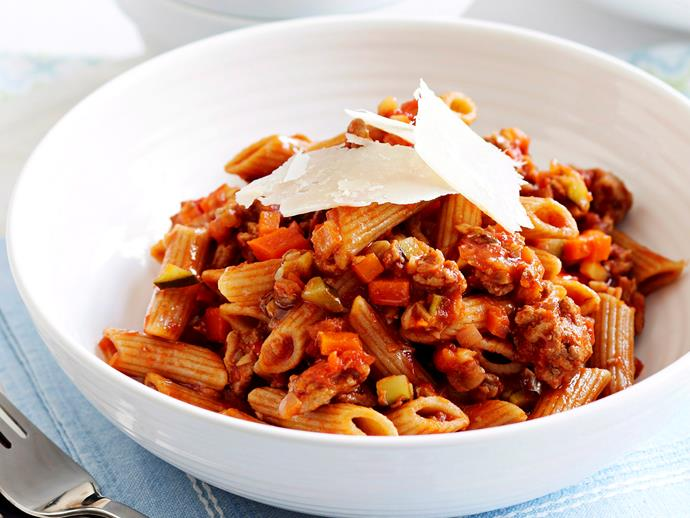 "**[Healthy turkey bolognese](https://www.womensweeklyfood.com.au/recipes/healthy-turkey-bolognese-16853|target=""_blank"")**"