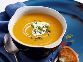 Kumara soup with croque monsieur