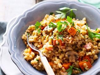 Leek and pumpkin barley risotto