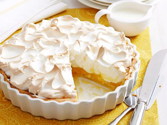 """**[Lemon meringue pie](https://www.womensweeklyfood.com.au/recipes/lemon-meringue-pie-16867 target=""""_blank"""")**  Sticky and sweet with just a whisper of tartness, a good old-fashioned lemon meringue pie is always greeted with murmurs of appreciation. This one is no different."""