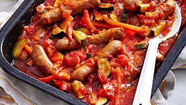 Mediterranean baked sausages