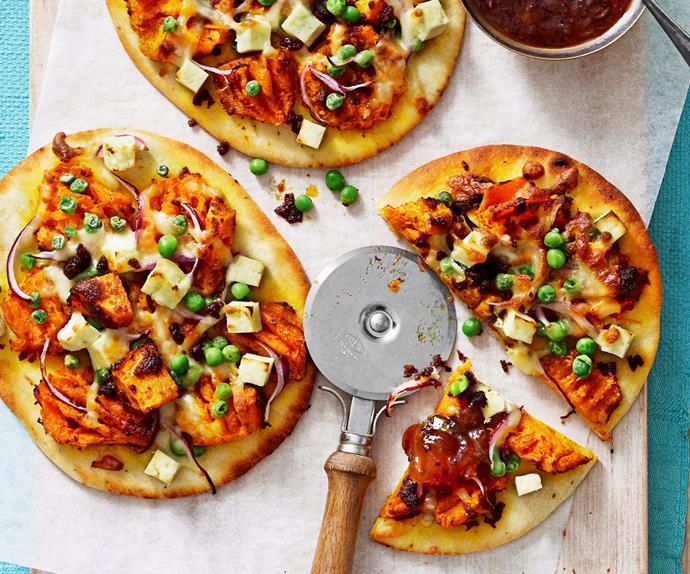 Naan pumpkin pizza