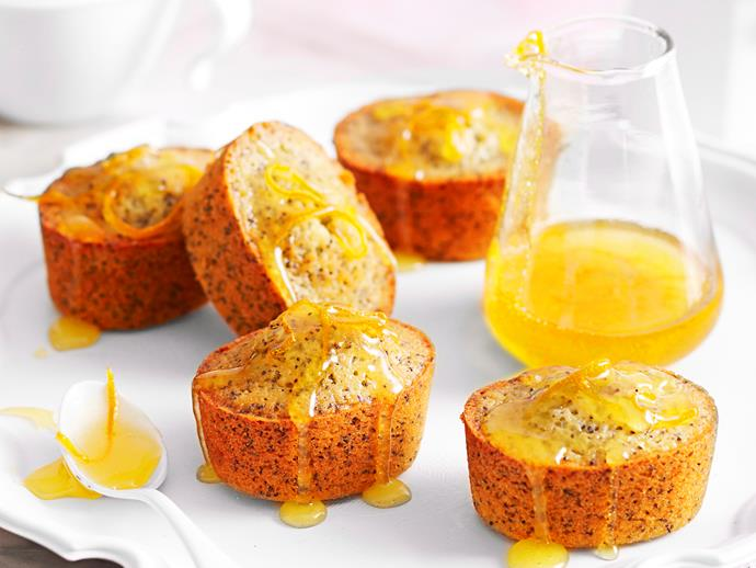"Sweet, fluffy and golden, these beautiful [orange and poppy seed friands](https://www.womensweeklyfood.com.au/recipes/orange-and-poppy-seed-friands-16899|target=""_blank"") are wonderful served topped with a oozy citrus syrup, keeping the cakes deliciously moist."