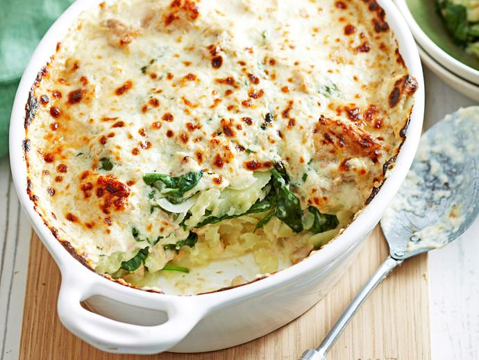 "[Potato, spinach and tuna bake](https://www.womensweeklyfood.com.au/recipes/potato-spinach-and-tuna-bake-27784|target=""_blank"")  With golden parmesan and a zesty tuna sauce this hearty bake will warm your family on cold winter nights."