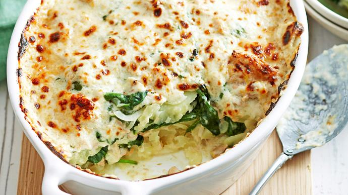 Potato, spinach and tuna bake