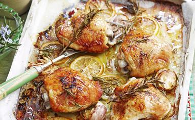 Paleo roast chicken with lemon, rosemary and garlic