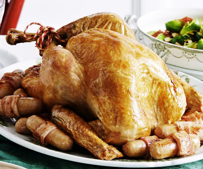 Roast turkey with herb stuffing and pork chipolatas