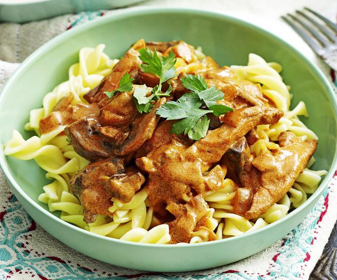 Stroganoff with pasta