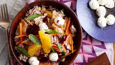 Tuna and beetroot fattoush salad with labne