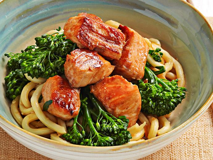 "**[Udon and salmon noodles](https://www.womensweeklyfood.com.au/recipes/udon-and-salmon-noodles-17002|target=""_blank"")**"