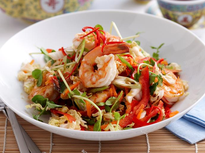 "**[Warm asian prawn salad](https://www.womensweeklyfood.com.au/recipes/warm-asian-prawn-salad-16650|target=""_blank"")**"