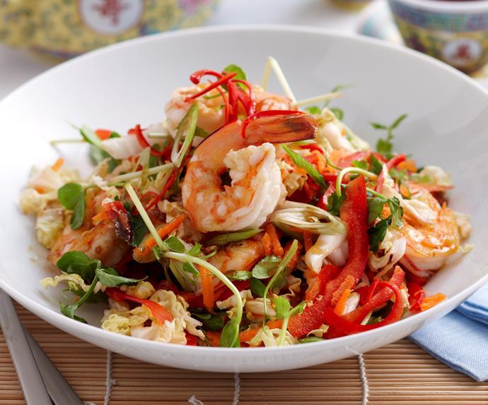 Warm Asian prawn salad