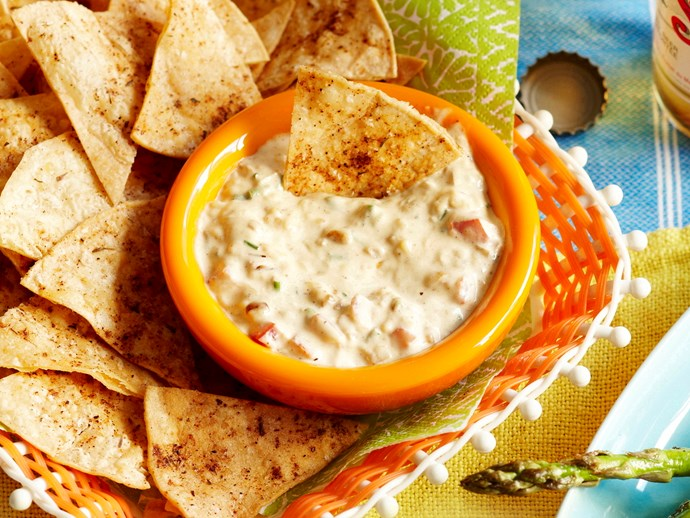 Warm cheese dip and tortilla chips