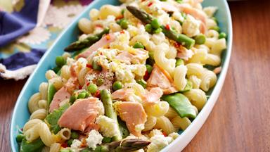 Warm pasta, salmon and asparagus salad