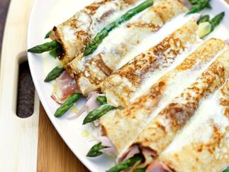 Creamy Ham and Asparagus Crepes