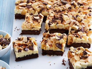 White chocolate and honeycomb mousse slice